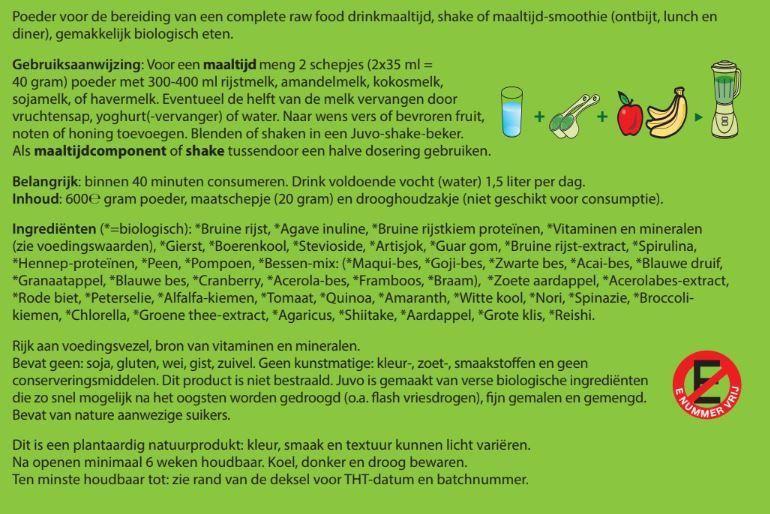 voedingswaarden Juvo raw whole food