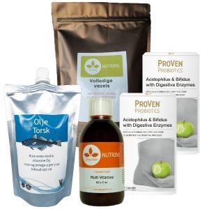 high fibre, omega-3, probiotica, enzymen, vitaminen.