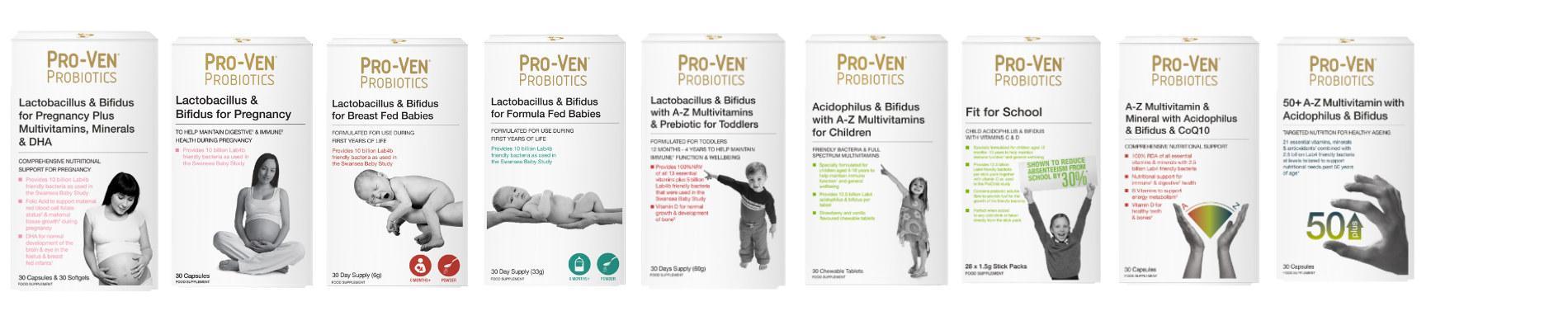 probiotica supplementen met vitaminen en vezels van zwanger, baby, peuter, kind tot senior