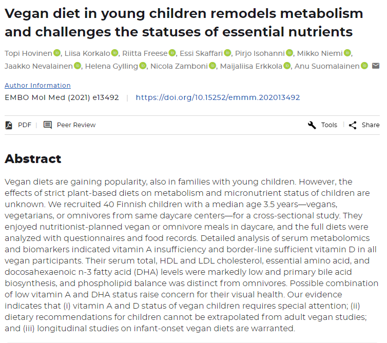 onderzoek kinderen vegan vitaminen